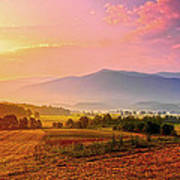 Mountain Morning Farm In Cades Cove Poster