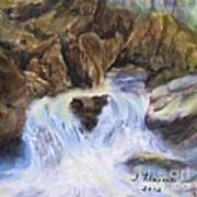 Mountain Waterfalls Painting Poster