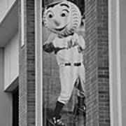 Mr Met In Black And White Poster