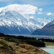 Mt Cook Across Lake Pukaki Poster