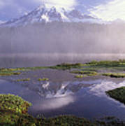 Mt Rainier An Active Volcano Encased Poster
