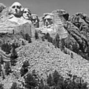 Mt. Rushmore Full View In Black And White Poster