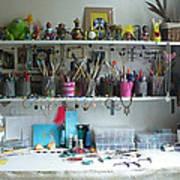 My Desk On A Slow Day Brooklyn Alien Art Poster by Kristi L Randall