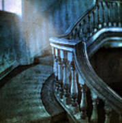 Mysterious Stairway In Old Mansion Poster
