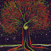 Mystic Spiral Tree Red By Jrr Poster
