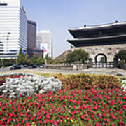 Namdaemun Gate With Flowers In Foreground Poster