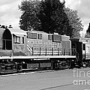 Napa Valley Railroad Wine Train Locomotive In Napa California Wine Country . Black And White . 7d899 Poster