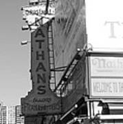 Nathan's Famous At Coney Island In Black And White Poster