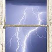 Nature Strikes White Rustic Barn Picture Window Frame Photo Art Poster