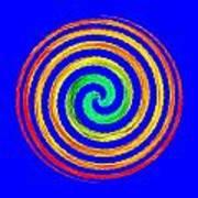 Neon Spiral Blue Poster
