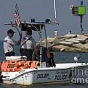 New Buffalo Michigan Police Boat Patrolling Harbor Poster