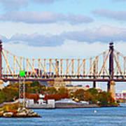 New York Bridge Water View Poster