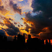 New York City Skyline At Sunset Under Clouds Poster
