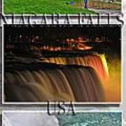 Niagara Falls Usa Triptych Series With Text Poster