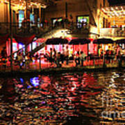 Night Glow On River Walk Poster