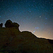 Night Sky Over Valley Of Fire Poster