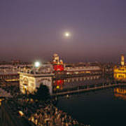 Night View Of Amritsar Poster