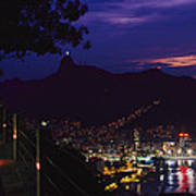 Night View Of Rio De Janeiro From An Poster