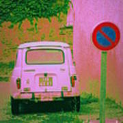No Parking Sign With Pink Car Poster