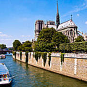 Notre Dame Cathedral Along The Seine River Poster