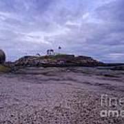 Nubble Lighthouse At Dusk Maine Usa Poster