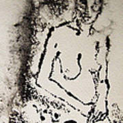 Nude Young Female That Is Mysterious In A Whispy Atmospheric Hand Wringing Pose Monoprint Intaglio Poster