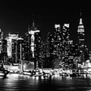 Nyc Skyline June 2012 Bw Poster