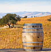 Oak Barrel At Vineyard Poster