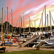 Oak Pt Harbor At Sunset Poster