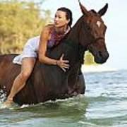 Ocean Horseback Rider Poster