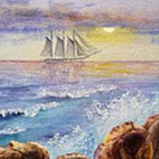 Ocean Waves And Sailing Ship Poster