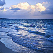 Ocean Waves On Beach At Dusk Poster