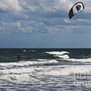 October Beach Kite Surfer Poster by Susanne Van Hulst