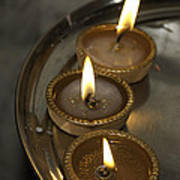 Oil Lamps Kept In A Plate As Part Of Diwali Celebrations Poster