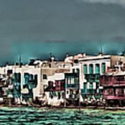 Oill Paint Effect Mykonos Greece Poster