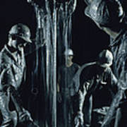 Oilmen Covered In Mud Pull Up A Drill Poster