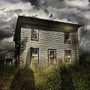 Old Ababdoned House With Flying Ghosts Poster by Sandra Cunningham