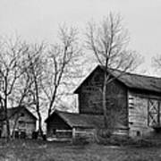 Old Barn In Monochrome Poster