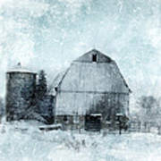 Old Barn In Winter Snow Poster