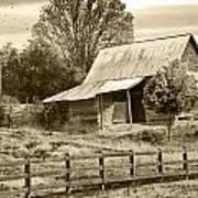 Old Barn Sepia Tint Poster
