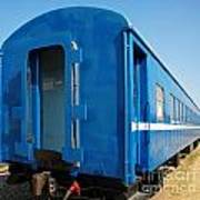 Old Blue Train Car Poster