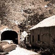 Old Car Older Barn Oldest Bridge Poster