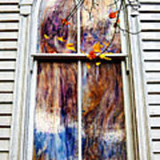 Old Carpenter Gothic Style Church Window In Wv Fall Poster
