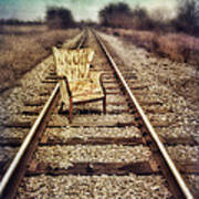 Old Chair On Railroad Tracks Poster