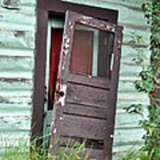 Old Door On Rustic Alaska Cabin Poster