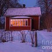 Old-fashioned House At Sunset In Winter Poster