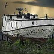 Old Fishing Boat On Shore With Storm Moving In Poster