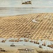 Old Galveston Map Poster