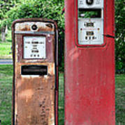 Old Gas Station Pumps Poster