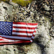Old Glory On A Rock Poster